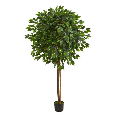 Nearly Natural Home Decorative 6.5' Ficus Artificial Faux Tree - Not Available