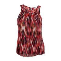 Calvin Klein Women's Sleeveless Embellished Neck Top - tango/black multi - l