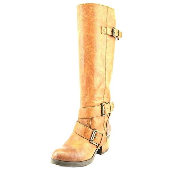 Nine West Demanda38 Women Round Toe Leather Tan Knee High Boot