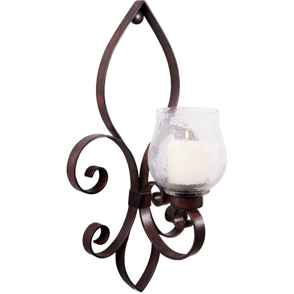 "Palais Glassware Fleur De Lis Motif Art Bronze Metal Candle Holder (Large Wall Sconce 24"")"
