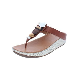 e9fd00ef2e5e Fitflop Womens Jeweley Toe Flip-Flops Leather Embellished