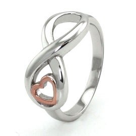 Sterling Silver Infinity Ring w/ Rose Gold Heart