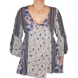 Funfash Plus Size Clothing Bohemian Midnight Blue Lace Bell Sleeves Top Shirt New Made in USA