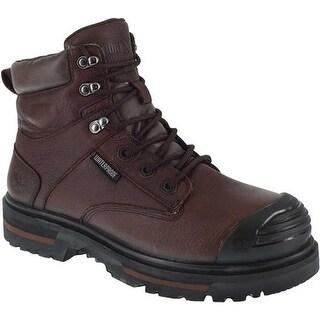 "Iron Age Men's Troweler 6"" Waterproof Composite Toe Work Boot Brown Full Grain Leather"