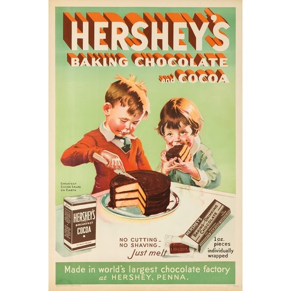 Hersheys Baking Chocolate & Cocoa 1934 Vintage Ad (Acrylic Wall Clock) - acrylic wall clock