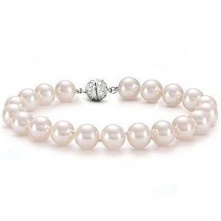 Bling Jewelry 12mm Pink Imitation Pearl Wedding Bracelet Rhodium Plated (2 options available)