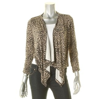 Grace Elements Womens Cardigan Top Animal Print Ruched Sleeves - s