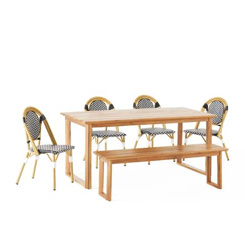 Pepple Outdoor Acacia Wood and Wicker Outdoor 6 Piece Dining Set with Bench by Christopher Knight Home