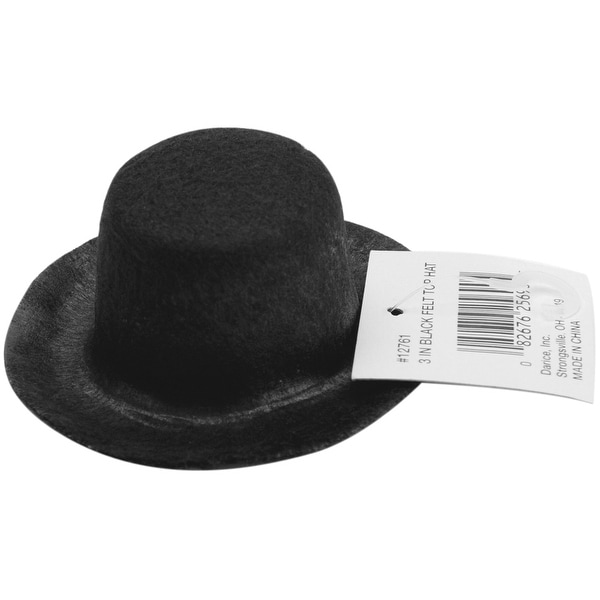 "Stiffened Felt Top Hat 3""-Black - Black"