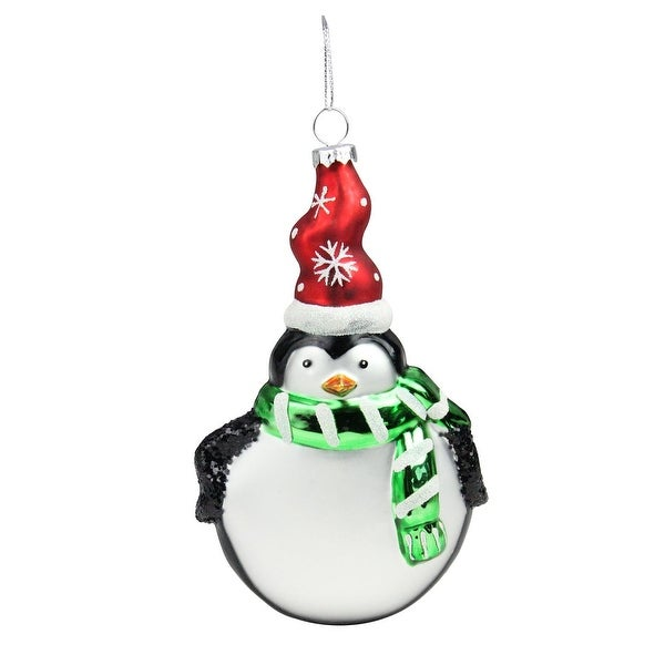 "6"" Friendly Penguin with Green Scarf and Red Snowflake Hat Glass Christmas Disc Ornament - black"