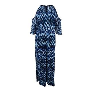 NY Collection Women's Off-The-Shoulder Maxi Dress (S, Blue Rainy) - blue rainy - s