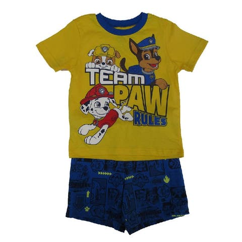efa4ab6c17 Nickelodeon Little Boys Yellow Blue Paw Patrol Short Sleeve 2 Pc Outfit