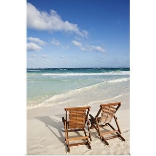 """""""Beach chairs in the sand"""" Poster Print"""