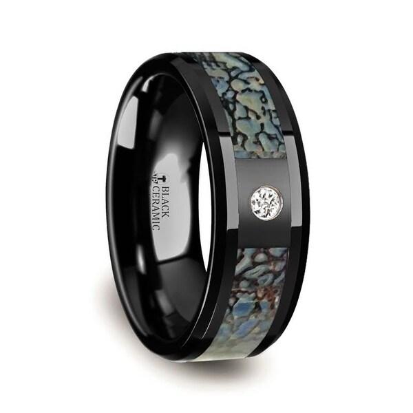 Blue Dinosaur Bone Inlaid Black Ceramic Diamond Wedding Band With Beveled Edges