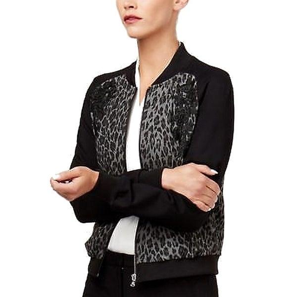 789532ff8 Shop Kobi Black Women's Size Medium M Leopard Embroidered Bomber ...