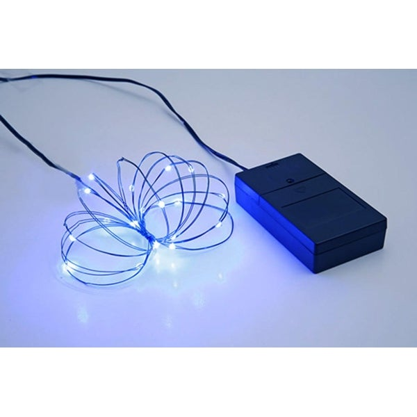Multi Function Ultra Slim Wire Christmas Light Set - 24 Blue LED Lights