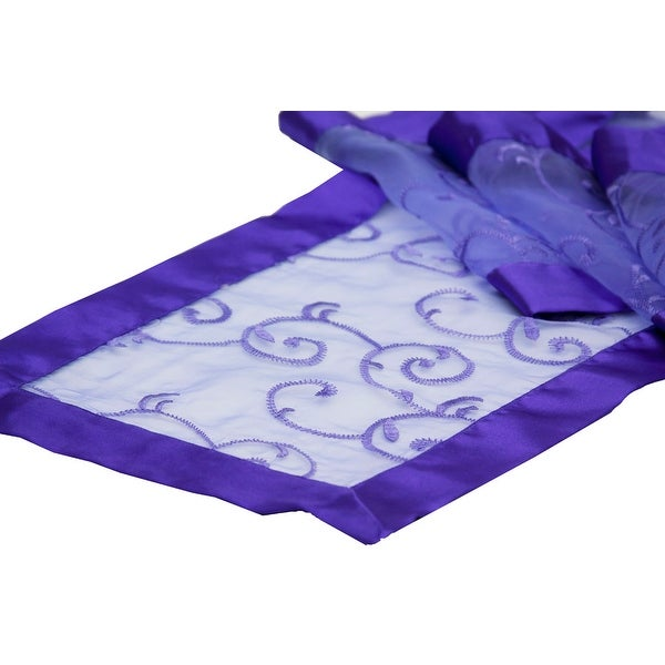 "Swirl Embroidery Table Runner Approx. 12"" x 106"" Edge: Folded Ribbon - Purple, 1 Piece"