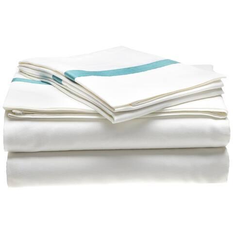 Miranda Haus 300-Thread Count Cotton Solid Hotel Border Bed Sheet