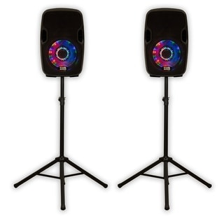 Acoustic Audio AA8LUB Powered 600W Bluetooth Speaker Pair with LED Flashing Lights and Stands