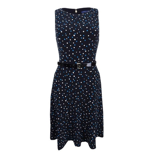 24f1ed7903b Shop Tommy Hilfiger Women's Belted Polka-Dot A-Line Dress - Black/Blue - On  Sale - Free Shipping Today - Overstock - 20601017