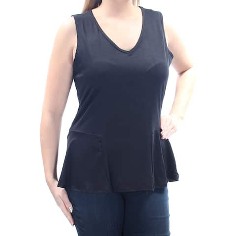 NY COLLECTION Womens Black Sleeveless V Neck Wear To Work Top Size: L