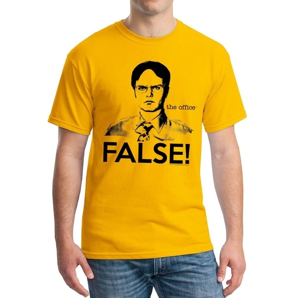 b7d477aa Shop The Office Funny Dwight Schrute False Quote Graphic Men's Gold T-shirt  - On Sale - Free Shipping On Orders Over $45 - Overstock - 19855396