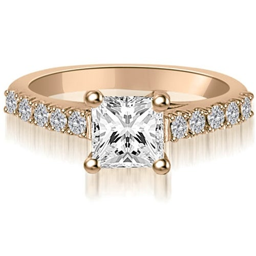 1.00 cttw. 14K Rose Gold Princess And Round Diamond Engagement Ring