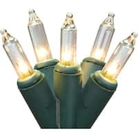 """Set of 50 Clear Mini Christmas Lights 6"""" Spacing - Green Wire"""