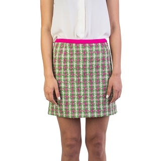 Miu Miu Women's Cotton Blend Tweed Skirt Green - 40