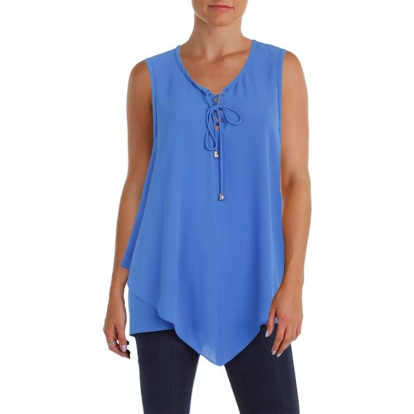 Vince Camuto Womens Casual Top Lace-Up Handkerchief Hem
