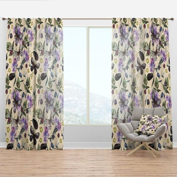 Designart 'Butterflies and Flowers' Farmhouse Curtain Panel. Opens flyout.