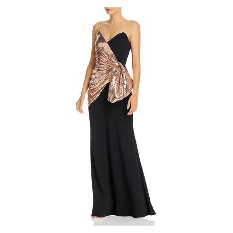 JILL STUART Womens Black Full-Length Fit + Flare Formal Dress Size 4