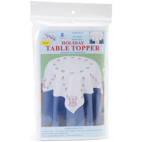 """Stamped White Perle Edge Table Topper 35""""X35""""-Independence Day"""