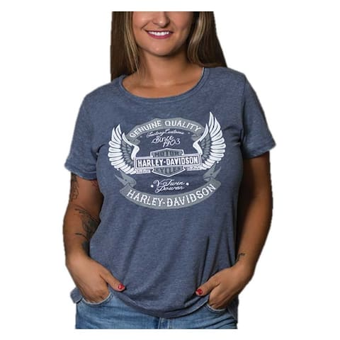 Harley-Davidson Women's Bar & Shield Wing Short Sleeve Scoop Neck T-Shirt, Navy