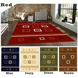 5x8 8x10 Red Blue Ivory Green Brown Multi Color Multi-Color Modern Contemporary Cubic Area Rug Rug Carpet