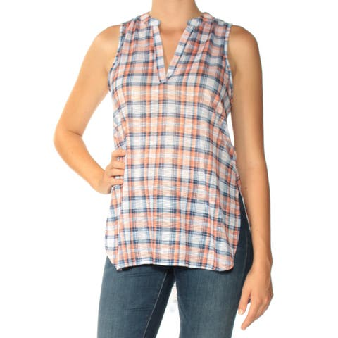 ALMOST FAMOUS Womens Orange Plaid Sleeveless V Neck Top Plus Size: M