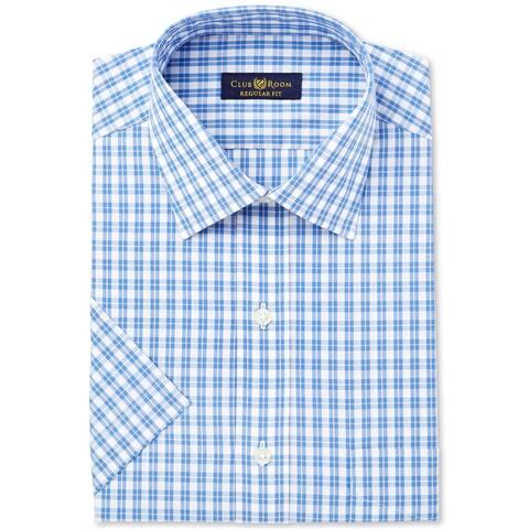 Club Room Mens Blue Cross Button Up Dress Shirt, blue, 16