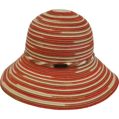 Women's Hand Sewn Straw Poly Braid Wide Brim Sun Hat