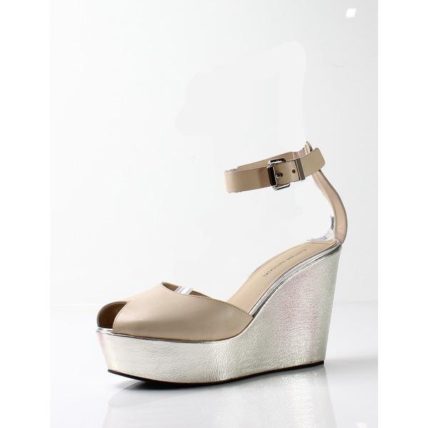 Costume National NEW Beige Women's Shoes Size 9.5M Metallic Wedge