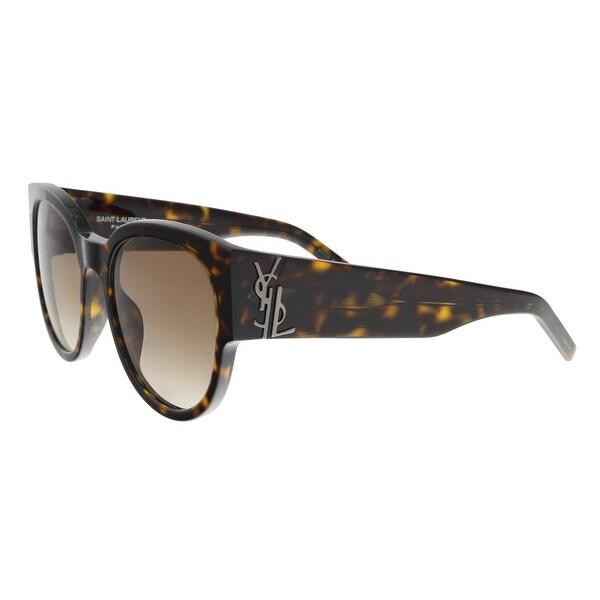 Shop Saint Laurent Sl M19 002 Havana Round Sunglasses