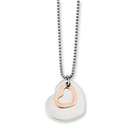 Chisel Stainless Steel Polished & Rose IP-plated Heart 18in Necklace (1 mm) - 18 in
