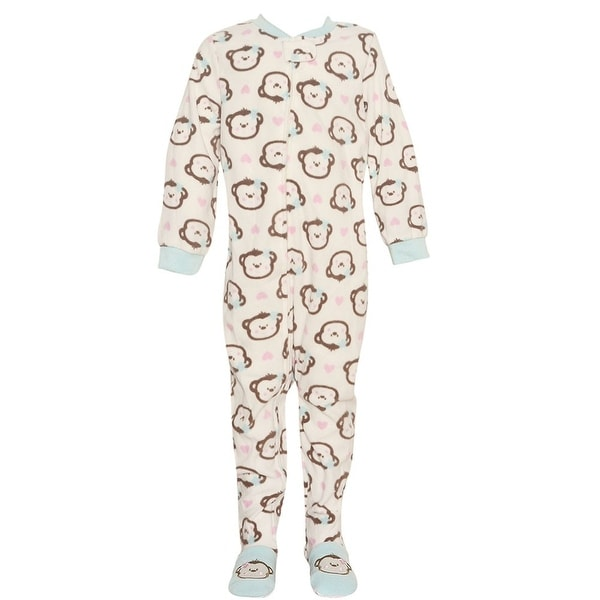 3065aff9053f Shop Vitamins Kids Little Girls Ivory Brown Monkey Face Footed ...