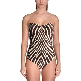Calvin Klein Womens Animal Printed Stretch One-Piece Swimsuit