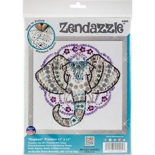 "Design Works/Zendazzle Stamped Needleart Kit 12""X12""-Elephant"
