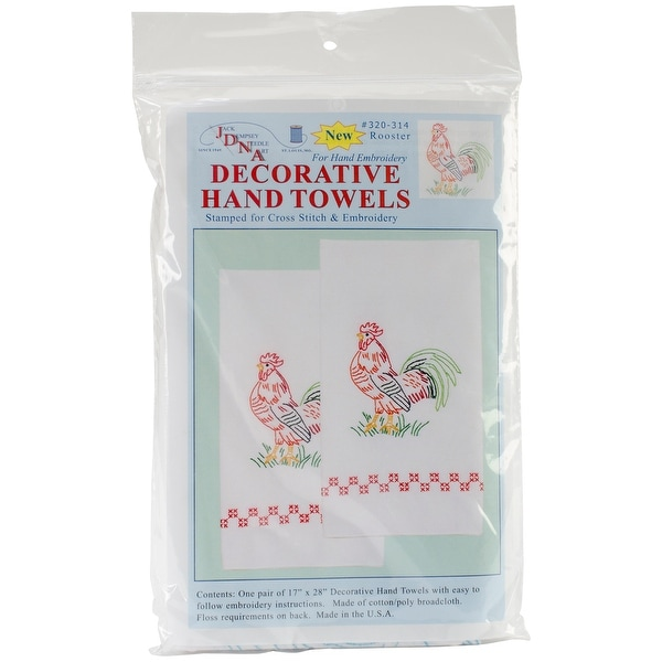 """Stamped White Decorative Hand Towel Pair 17""""X28""""-Rooster"""
