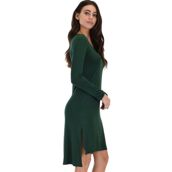 227a6f24047d2 Kiss The Moon Long Sleeve Black Midi Dress -Olive-Small