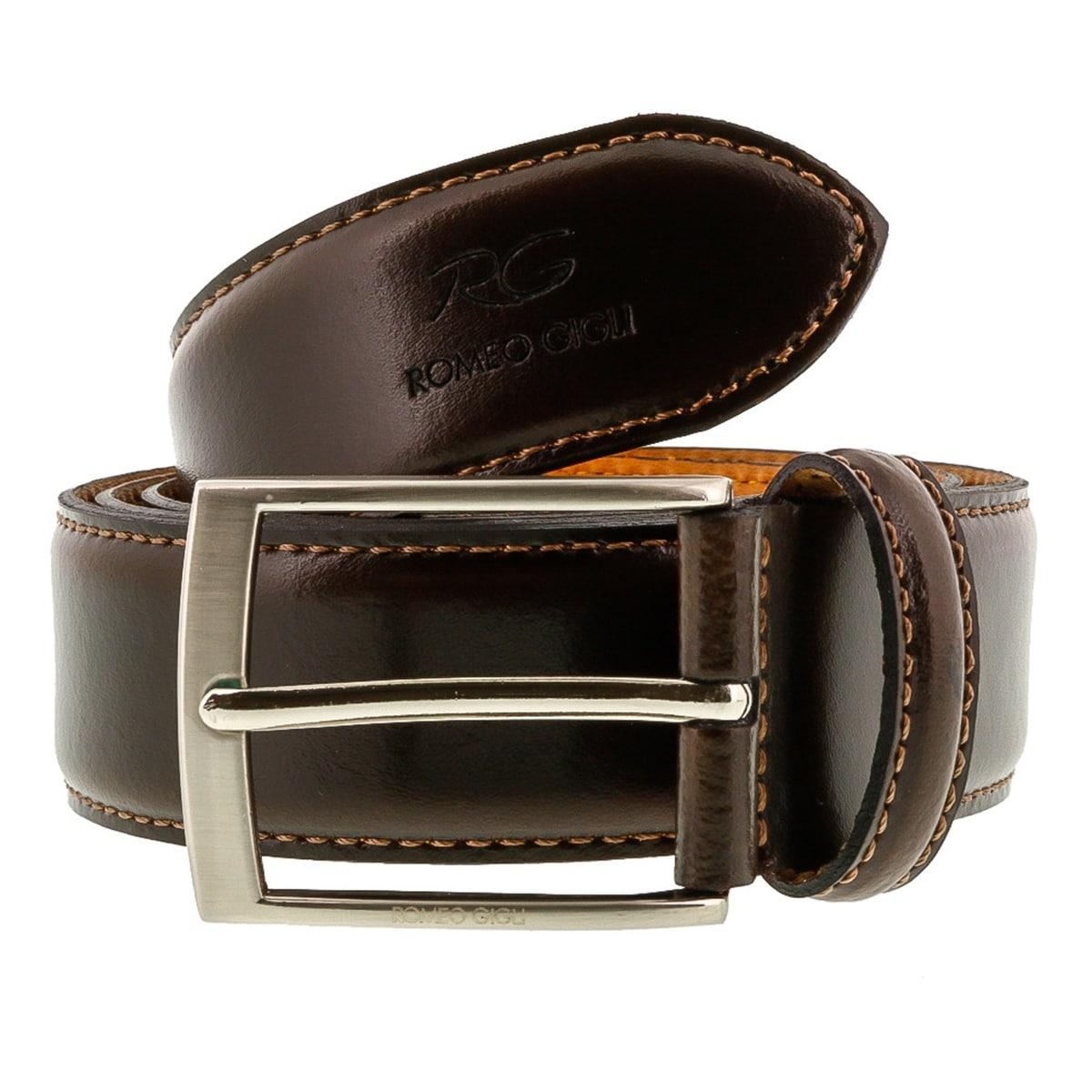 Romeo Gigli C955//35S T.MORO Dark Brown Leather Adjustable Mens Belt for mens