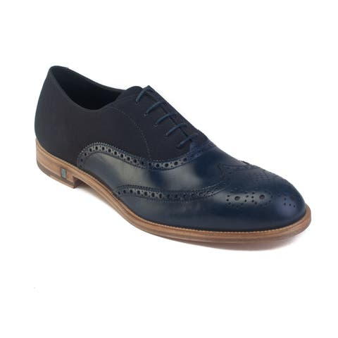 Versace Men's Leather Lace-up Brogue Derby Dress Shoes Navy Blue