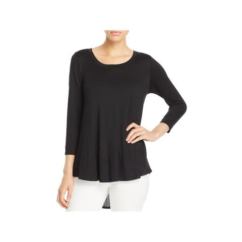 Nally & Millie Womens Casual Top Sheer Lace Back Hi-Low