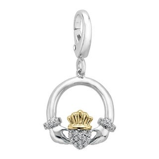 1/10 ct Diamond Claddagh Charm in Sterling Silver & 14K Gold